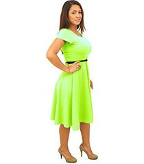 dbg women's short sleeve scoop neck polyester dress (4x, neon lime)