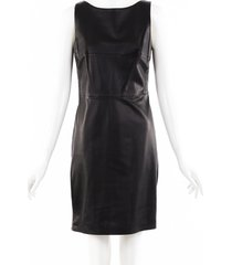 versace leather corset trim dress black sz: m