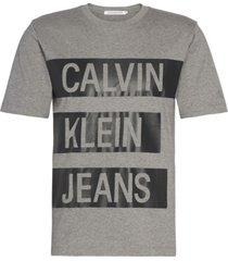 stacked instit logo reg t-shirt gris calvin klein