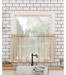 """no. 918 alison floral lace rod pocket kitchen curtain tier pair, 58"""" x 36"""""""