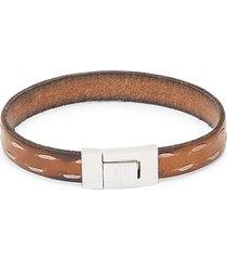 tateossian men's stainless steel & leather bracelet - brown