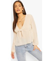 dobby tie front smock top, nude