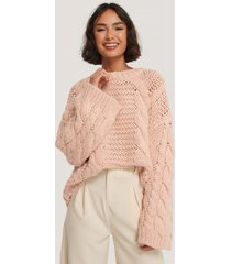 na-kd trend chunky cable knitted sweater - pink