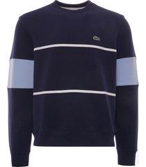 lacoste heritage crew neck colourblock cotton piqué sweatshirt | marine | sh7390-9nx