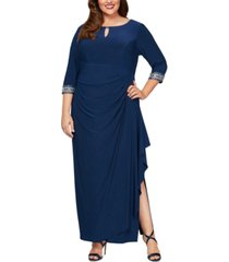 alex evenings plus size embellished cascade gown