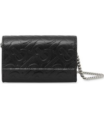 burberry small monogram wallet with detachable strap - black