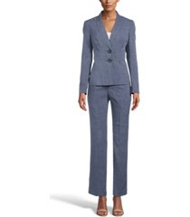 le suit petite printed notch-collar pantsuit
