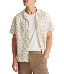 men's bonobos cabana palm tree short sleeve linen & cotton button-up camp shirt, size x-large - white