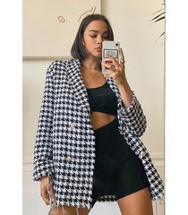 dogtooth woven double breasted boxy blazer, black