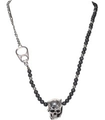 alexander mcqueen beads and skull necklace
