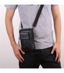 borsa a tracolla da uomo in pelle da 7 pollici a rilievo ad alta capacità per uomo