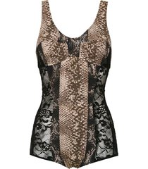 amir slama printed lace swimsuit - black