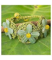 beaded flower bracelet, 'blossoming rhyme' (thailand)