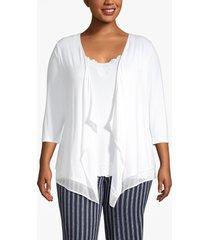 lane bryant women's chiffon-trim drape-front cardigan 18/20 white