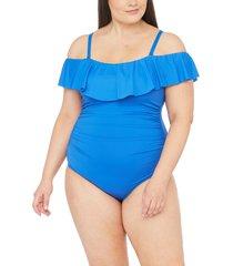 plus size women's la blanca off the shoulder one-piece swimsuit, size 18w - blue