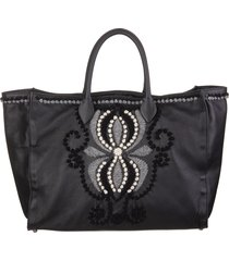 black leather tote bag with embroidery