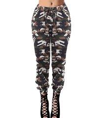 zanzea atado de camuflaje diseño cintura con cordón pantalones