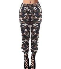 zanzea amarre de camuflaje diseño cintura con cordón pantalones