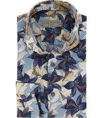 john miller overhemd bloemenprint navy bruin