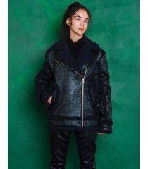 kurtka czarna metaliczna z misiem