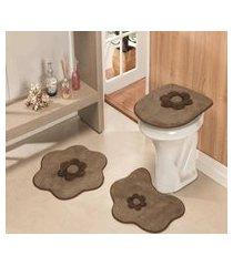 kit tapete de banheiro 3 peças antiderrapante margarida castor