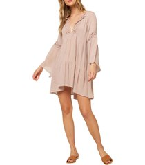 women's o'neill saltwater solids long sleeve cover-up tunic dress, size large - pink
