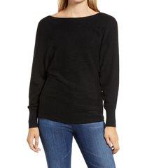 women's tommy bahama bonita boatneck ribbed cotton blend sweater, size medium - black