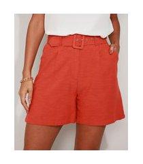 bermuda feminina cintura alta alfaiatada com cinto laranja