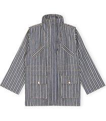 mixed striped denim jacket in dark indigo