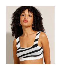 top cropped de tricô estampado animal print zebra alça larga decote reto off white