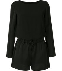 armani exchange drawstring-waist long-sleeve playsuit - black