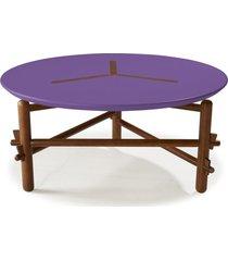 mesa de centro twist 761 cacau/roxo - maxima