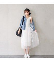 2016 new style maxi long dress women fashion casual sleeveless gauze dress