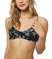 o'neill juniors' raven printed reversible strappy-back bralette bikini top, created for macy's women's swimsuit