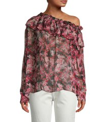 iro women's floral one-shoulder ruffle top - candy pink - size 36 (4)