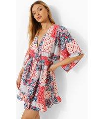 gesmokte jurk met opdruk, laag decolleté en kimono mouwen, red
