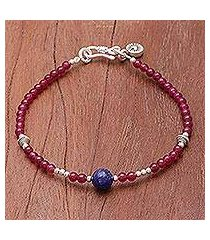 lapis lazuli and quartz beaded bracelet, 'magenta moon' (thailand)