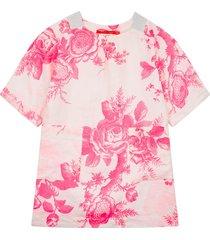 oilily douwe linnen zomerjurkje met fluo bloemenprint- wit