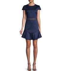 lace-trim mini a-line dress