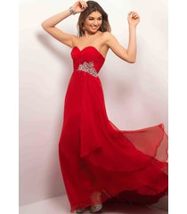 sexy strapless red or blue long chiffon evening gown/prom dress/jeweled waist