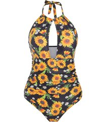 cut out sunflower halter swimsuit
