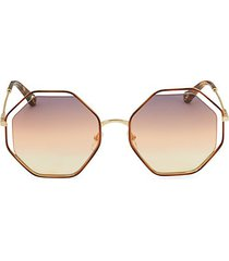 havana 58mm geometric sunglasses