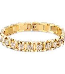eye candy la men's colton cubic zirconia & goldplated titanium chain link bracelet