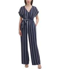 jessica howard petite striped belted jumpsuit