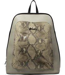 mochila de couro recuo fashion bag neve/cobra branca