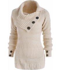 mix knit irregular turn down collar mock button sweater