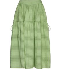 maura, 855 striped rayon knälång kjol grön stine goya
