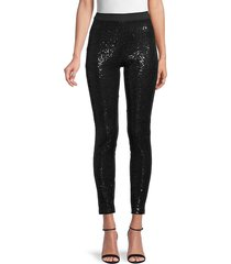hue women's sequin-front ponte leggings - black - size s