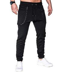 pantalones deportivos con cremallera de moda para hombre