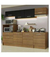 cozinha completa madesa onix 240002 com armario e balcão rustic/preto 5z7k rustic/rustic/preto